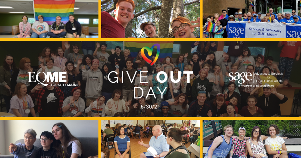 Collage of images of youth and older adults participating in various EqualityMaine events and programs