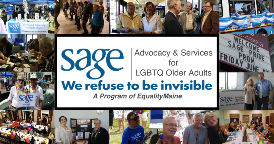 Photos of SAGE members at events placed around the SAGE Maine logo.