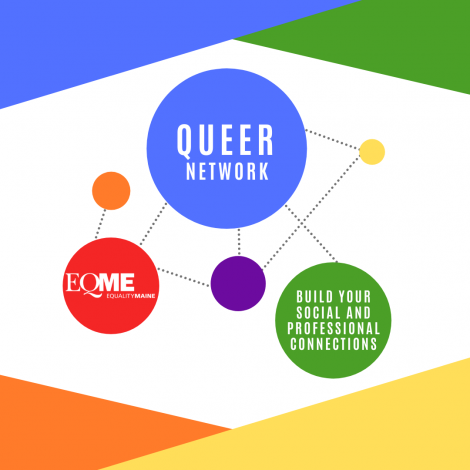 """Rainbow graphic for the Queer Network, with text reading """"build your social and professional connections"""""""